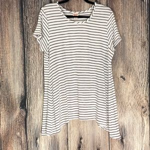 Mossimo Black White Striped Asymmetrical Top | XL